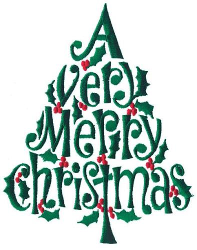 Christmas Designs.Merry Christmas Tree Embroidery Design