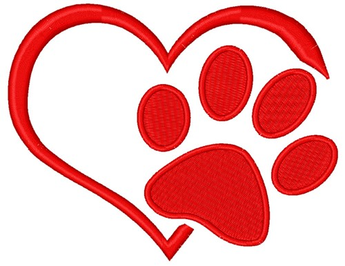 Dog Paw Print Embroidery Design Instant Download
