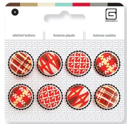 Crimson 6/pkg - Embroidered Buttons